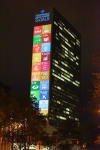 The SDGs projected on the side of the UN Headquarters in New York City