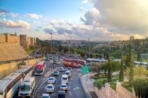 Traffic near surrounding wall of Jerusalem Old city