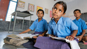 A girl in a classroom in Rajasthan, India