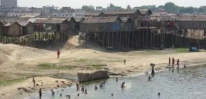 House built on stilts in Dhaka