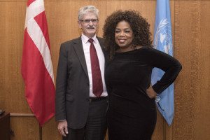 Mogens Lykketoft (left), President of the seventieth session of the General Assembly, meets with Oprah Winfrey