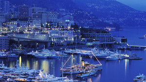 Looking out across the harbour of Monaco at dusk.