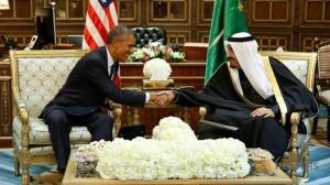 U.S. President Barack Obama meets with Saudi Arabia's King Salman