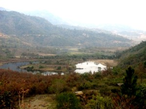 WM Rising Waters of Mapithel dam submering agricultrue land   in Chadong village