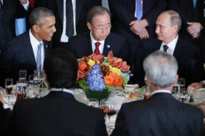 President Barack Obama, U.N. Secretary-General Ban Ki-moon and Russian President Vladimir at athe  U.N.
