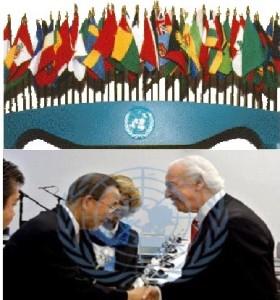 J. S. Moore, Ban Ki-Moon, Helene H. Oord, TL. Lowery UN Flags jpeg